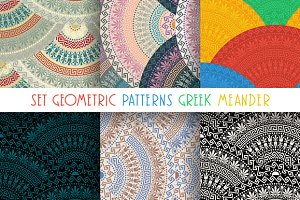 Set seamless 6 Greek patterns