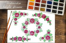 Watercolor roses frames and wreath