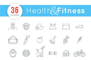 Fitness and Healthy Lifestyle Icons