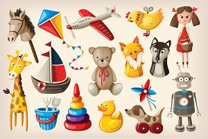 Colorful retro toys for kids