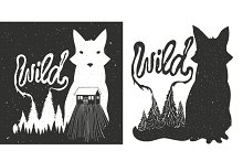 wild fox and pine forest set