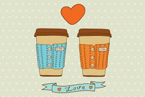 Vector cute coffee cups set.