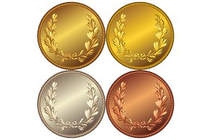 Set of templates for coin or medal