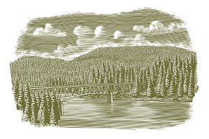 Woodcut Bridge Over River