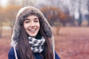 smiling girl in a winter day