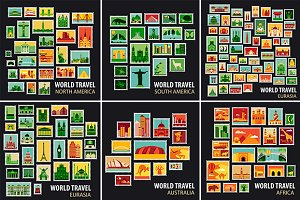 Stamps with historical architecture