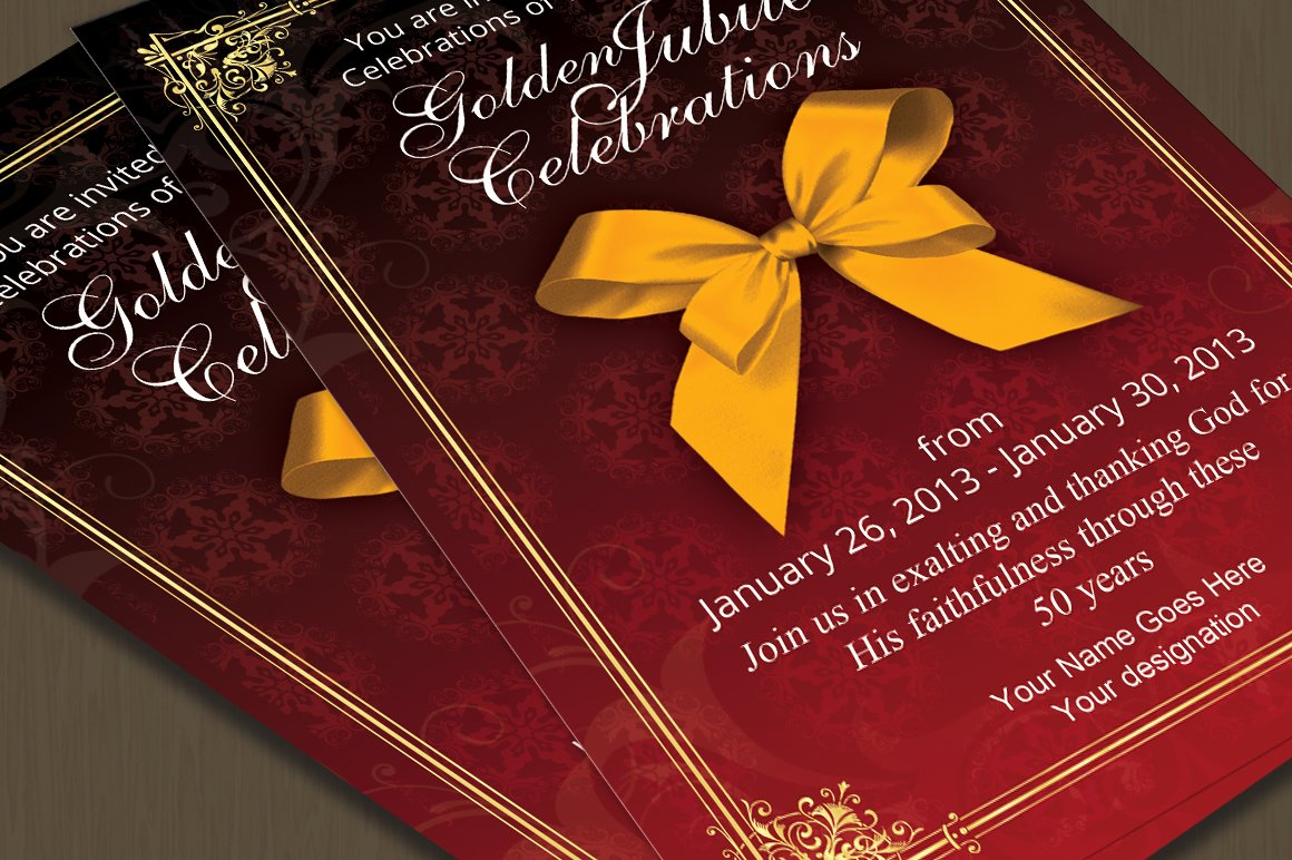 Golden Jubilee Invitation Card ~ Card Templates ~ Creative Market