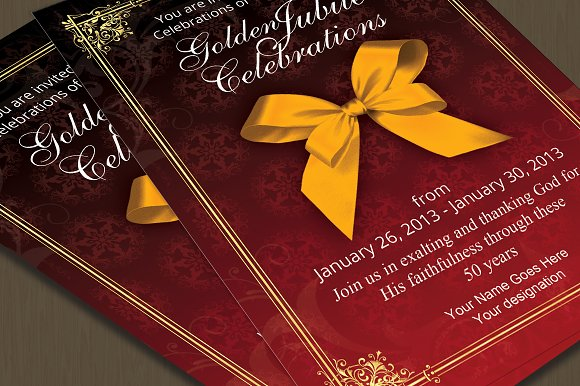 Golden jubilee invitation card card templates creative market golden jubilee invitation card cards stopboris Gallery