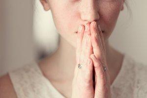 beautiful girl praying