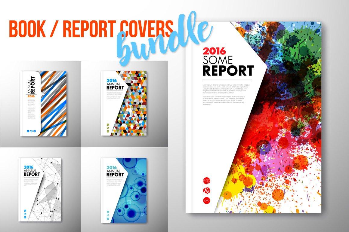 Creative Book Report Covers ~ Report book brochure cover illustrations creative