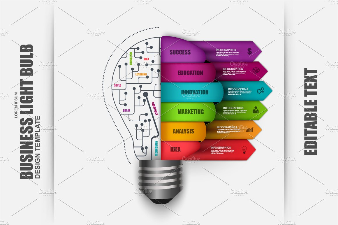 Business Light Bulb Infographic Presentation Templates Creative Vector Idea With Template For Diagram Market