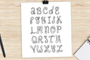 Hand drawn alphabet. Doodle letters.