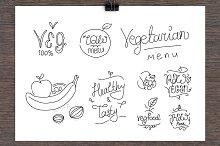 Vegetarian food lables.