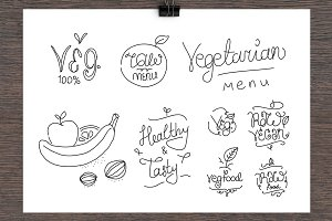 Vegetarian food lables.