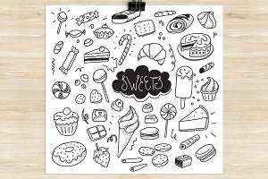 Hand drawn sweets and candies set