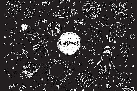 Cosmic set. Hand drawn doodles. - Illustrations