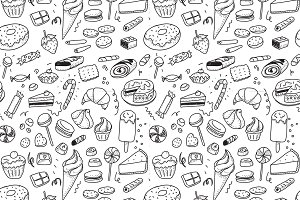 Hand drawn sweets pattern