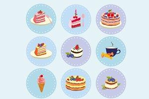 Dessert vector set