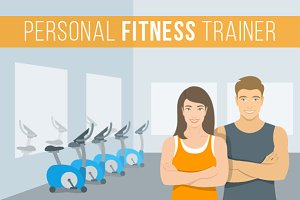Personal fitness trainers in the gym