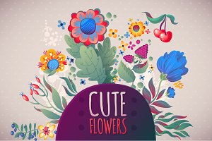 3 Cute Floral Cards + Set