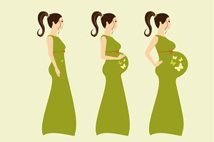 Beautiful pregnant woman stages