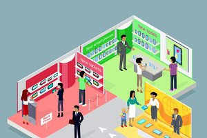 Isometric 3d Mobile Store Design