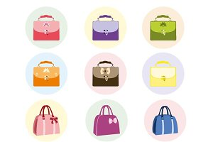 Female handbag set vector