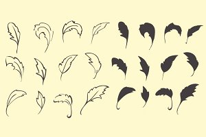 Hand draw silhouette feather set