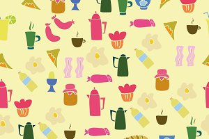 Seamless pattern of breakfast food