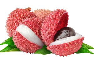 Isolated cut lychee fruits