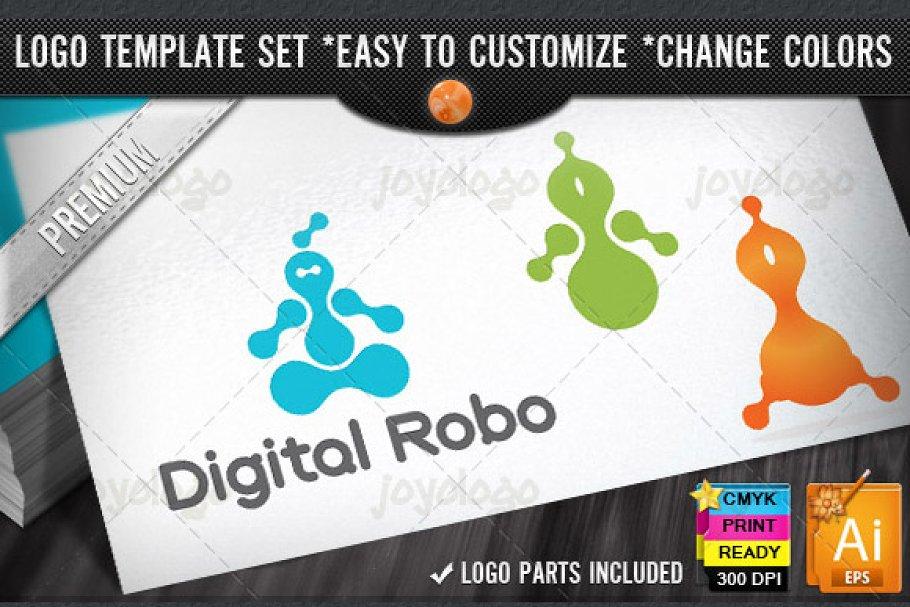 Digital Robot Logo Template Set