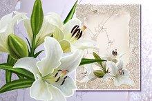 set of white lilies