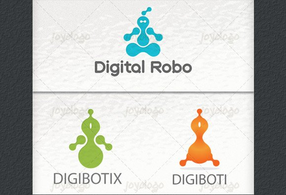 Digital Robot Logo Template Set Logo Templates Creative Market