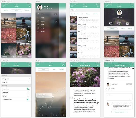 ios 10 app template sketch 3 web elements creative market