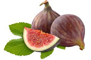 Fresh figs on leaf isolated