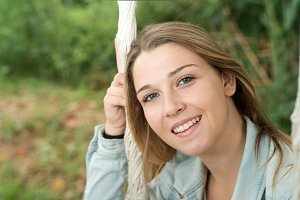 cheerful young woman closeup