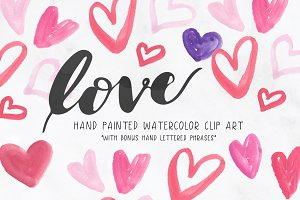Hearts Love Watercolor Clipart
