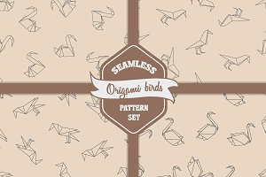 Origami birds seamless pattern set