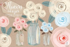 Watercolor cream roses mason jar