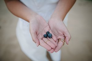 Blueberries in a woman's hands