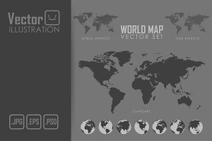 World map vector illustration set