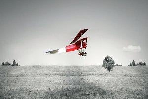 Red vintage airplane
