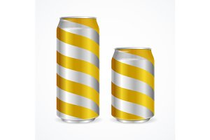 Aluminium Cans with Yellow Stripes