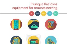 Mountaineering equipment icon. Set 1
