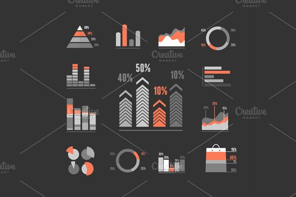 Graphs Icons Set. Vector - Icons