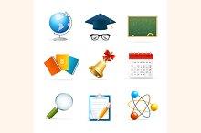 Colorful School Icon Set. Vector