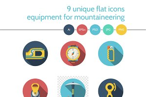 Mountaineering equipment icon. Set 2