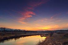 landscape on the river at sunset
