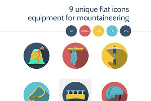 Mountaineering equipment icon. Set 3