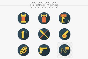 Self defence accessories flat icons